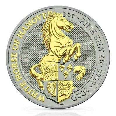2oz Silver Queen/'s Beasts White Horse of Hanover Ruthenium /& Gold Gilded Coin