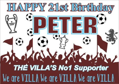 Villa Birthday Poster BannerBoy GirlPersonalised Name FootballTP200