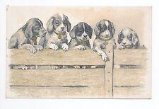 Animal CHIEN Chiens DOG dogs 43 carte illustrateur 5 chiens palissade