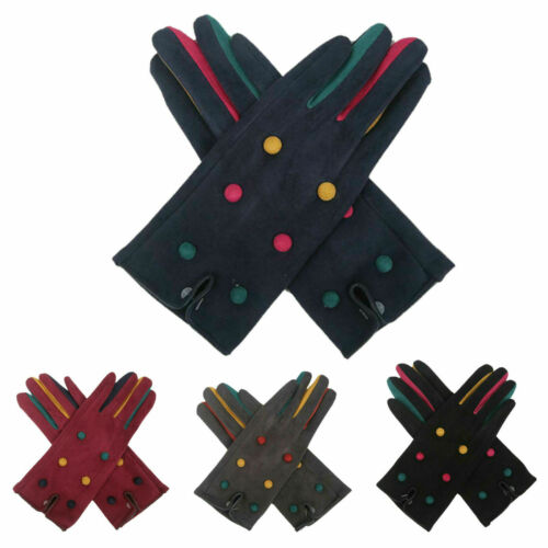 Women/'s Winter Warm Velvet Cozy Gloves Ladies Thermal Lined Buttons Touch Screen