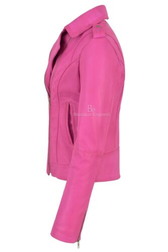 pecora Giacca in donna stile Brando da di Rock pelle pelle biker fucsia di RvrqRwCdS