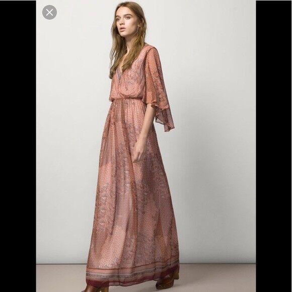 Massimo Dutti Maxi Maxi Maxi Boho Dress Flutter Sleeves Floral Size US 4  NEW  160 bb93e3