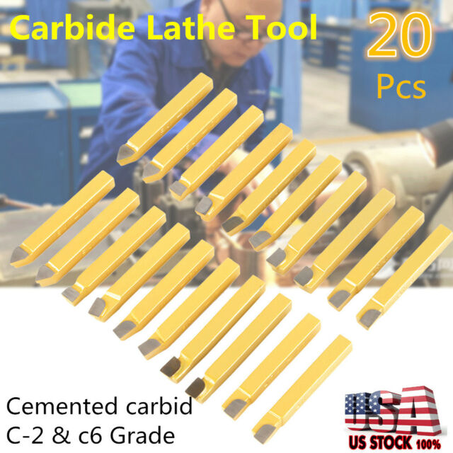 "20PC 1//4/"" CARBIDE TIP TIPPED CUTTER TOOL BIT CUTTING SET FOR METAL LATHE TOOLING"