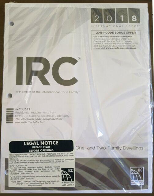 2018 International RESIDENTIAL Code (IRC 2018) - Loose Leaf - Sealed