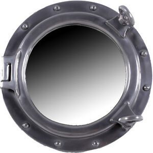 12 dia silver leaf finish porthole mirror wall mount round nautical chrome hang ebay. Black Bedroom Furniture Sets. Home Design Ideas
