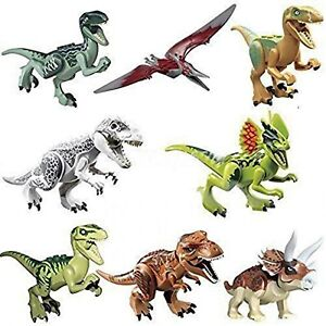 Dinosaurs Jurassic Figure Toy Building Block Set For Kids Children Play 8 Pieces