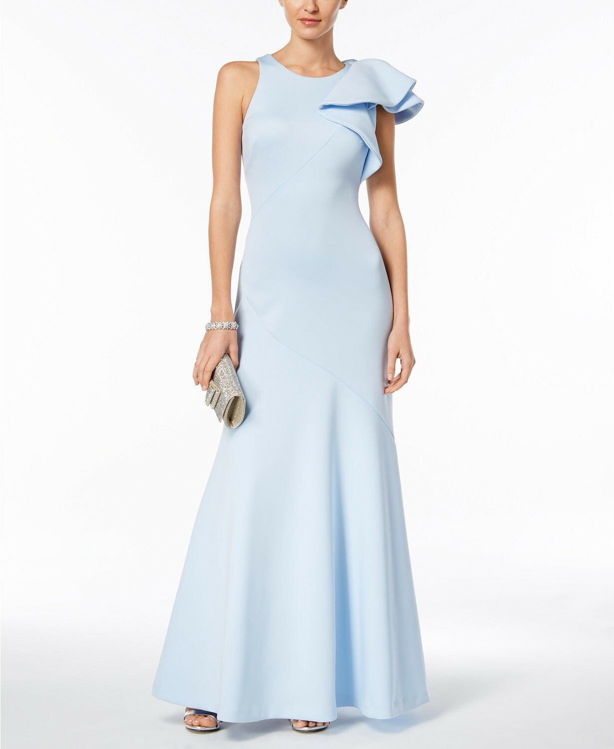 BETSY & ADAM damen Blau Ruffled Scuba One-Shoulder GOWN LONG DRESS Größe 4
