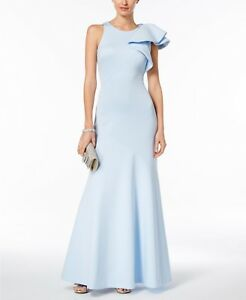 f77b8ade $259 BETSY & ADAM Womens BLUE Ruffled Scuba One-Shoulder GOWN LONG ...