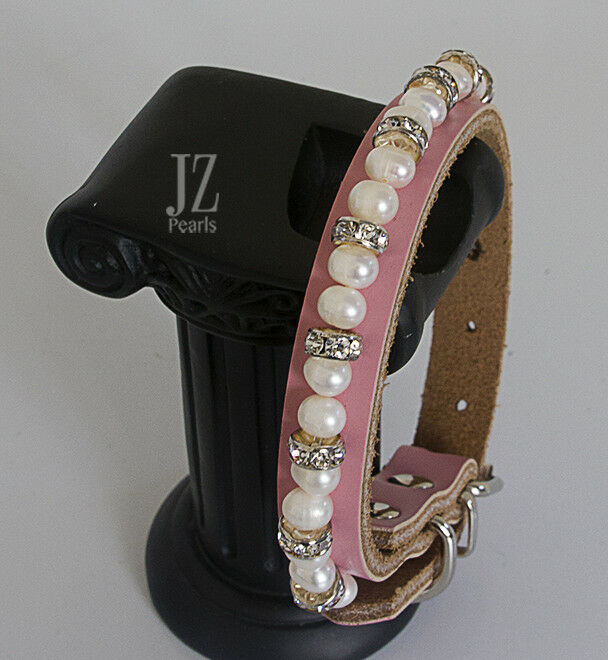 Pink Real Leather & Freshwater Pearl Rhinestone Crystal Dog Pet Collar 8-10 inch