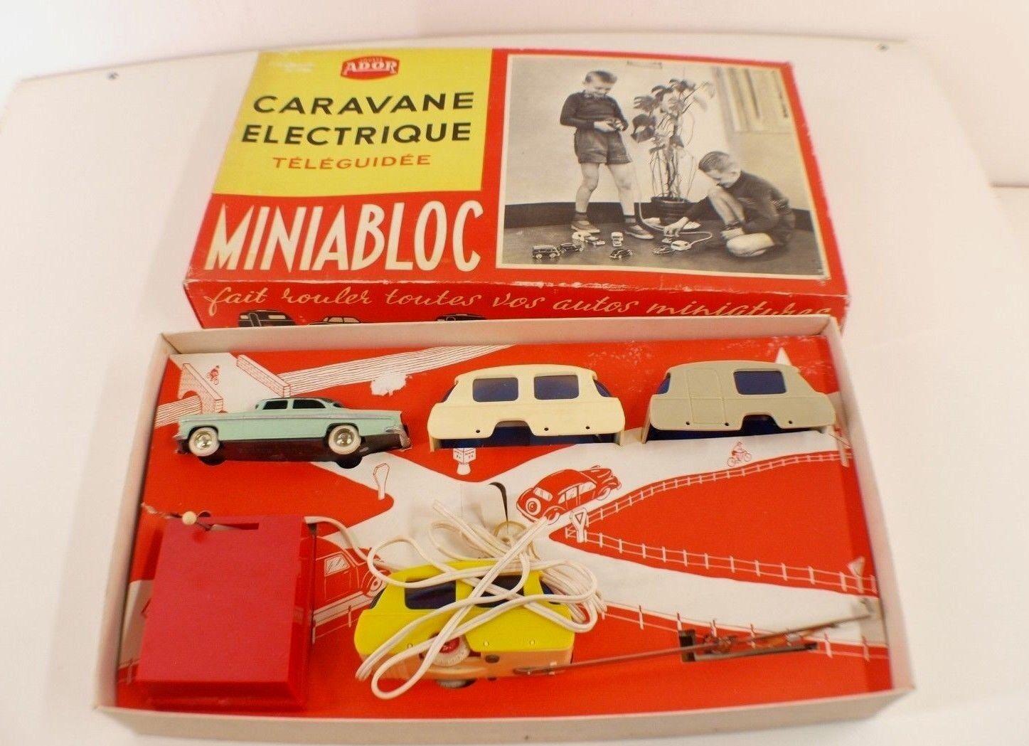 Miniabloc Jouets Jouets Jouets ADOR Poitiers Coffret Caravane ELECTRIQUE téléguidée CIJ rare 866996
