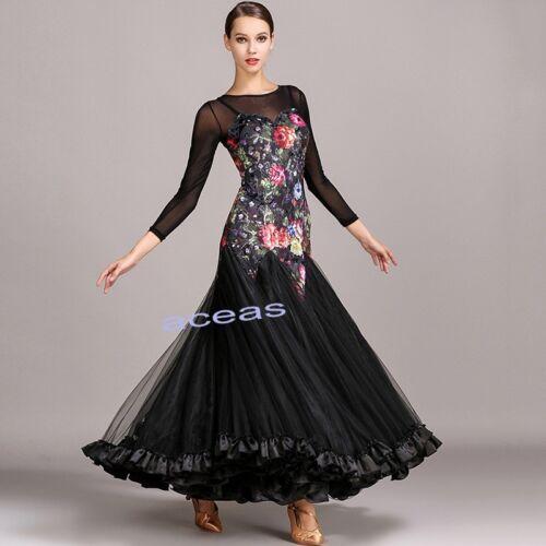 Ballroom Women/'s Maxi Standard Modern Dance Waltz Tango Fox Trot Dancewear Dress