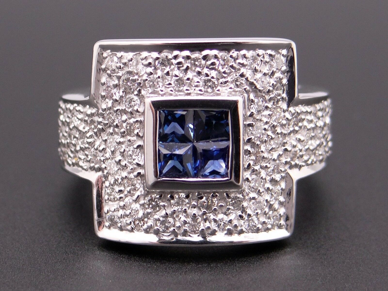 14k White gold 1.34ct Princess Cut Sapphire Diamond Anniversary Cluster Ring