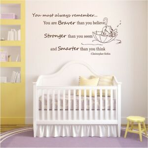Image Is Loading Winnie The Pooh Wall Decal Quotes Nursery Braver