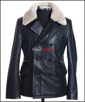 German Air Force Black Men's WW2 Military Real Cowhide Leather Jacket Pea Coat