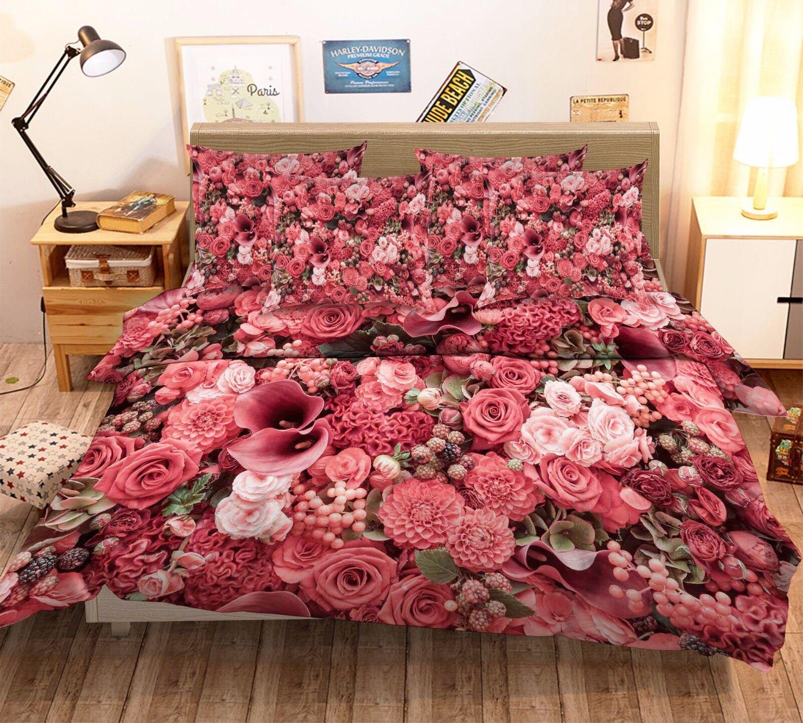 3D Bright Flowers 95 Bed Pillowcases Quilt Duvet Cover Set Single Queen AU Lemon