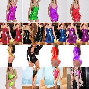 6cd53d7b7ef HOT Sexy Women Wet Look Shiny Metallic Mini Dress Clubwear Party ...