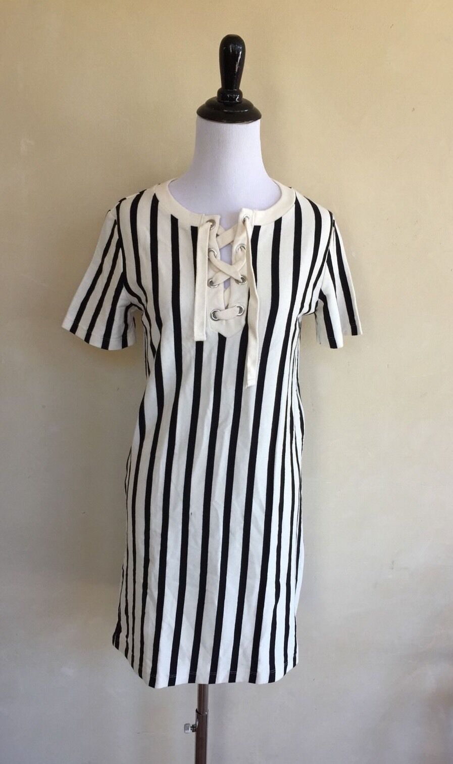 ZARA Trafaluc Dress Striped schwarz Weiß Tie Cotton Short Sleeve M NEW W  TAGS