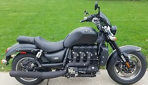 Free Flow Exhaust >> Triumph Rocket 3 Roadster classic blacked out performance exhaust black matte | eBay
