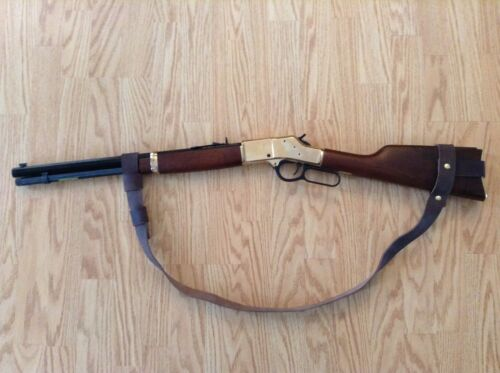 """***Brown/"""" Leather*** 1"""" Wide Leather NO DRILL Rifle Sling For Henry Rifles"""