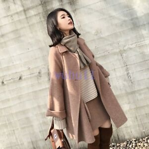 Solid Overcoat Kvinder Loose Populære Double Coat Woolen breasted Outwear Koreansk q0w8qOWp