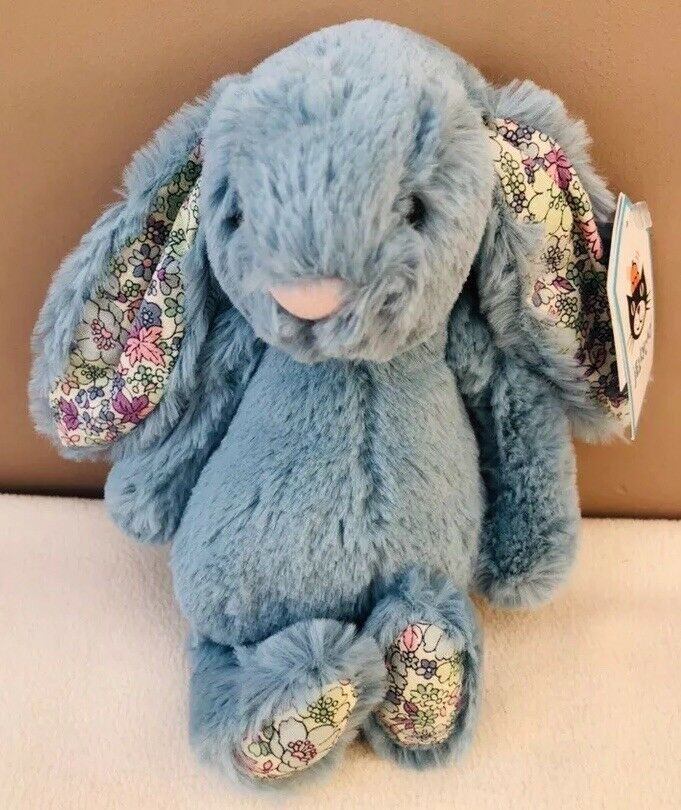 NEW Jellycat Small Bashful Aqua Blossom Bunny Rabbit Soft Toy Comforter BNWT