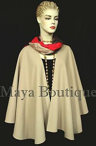 Taupe-Cape-Ruana-Wrap-Coat-Cashmere-Wool-Blend-by-Maya-Boutique-Made-in-USA