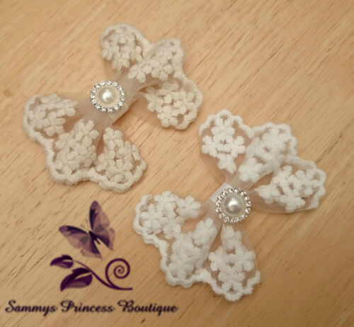 GIRLS IVORY CREAM WHITE VINTAGE FLORAL DAISY LACE HAIR BOW GRIP CLIP SLIDE BRIDE