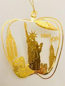 New York Christmas Ornament Gold Plated Brass Souvenir ...