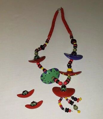 Lovely Sombrero Necklace And Earrings Set Mexican Folk Art Jewelry & Watches