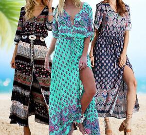 Women's Casual Sundress Boho Beach Slit Long Maxi Floral Summer Beach Dress