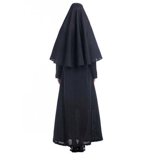 Womens Halloween Nun Costume Religious Sister Fancy Dress Outfit with Headpiece