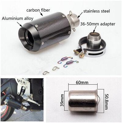 Universal 51mm Slip-On Round Carbon Fiber Motorcycle Exhaust Muffler w//DB Killer
