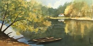 SIGNED IMPRESSIONIST BUCOLIC LANDSCAPE WITH WATER AND BOATS STUDY PAINTING