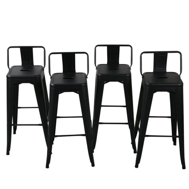 Groovy 30 High Bar Stool W Bar Stool Low Back Footrest Indoor Outdoor Set Of 4 Black Inzonedesignstudio Interior Chair Design Inzonedesignstudiocom