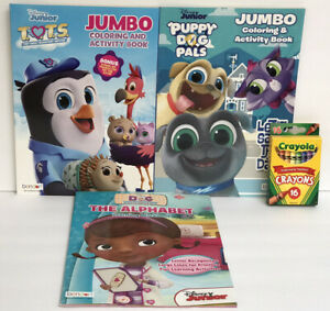 3-Disney-Junior-ABC-Workbook-amp-Jumbo-Coloring-Activity-Book-Crayons-Preschool