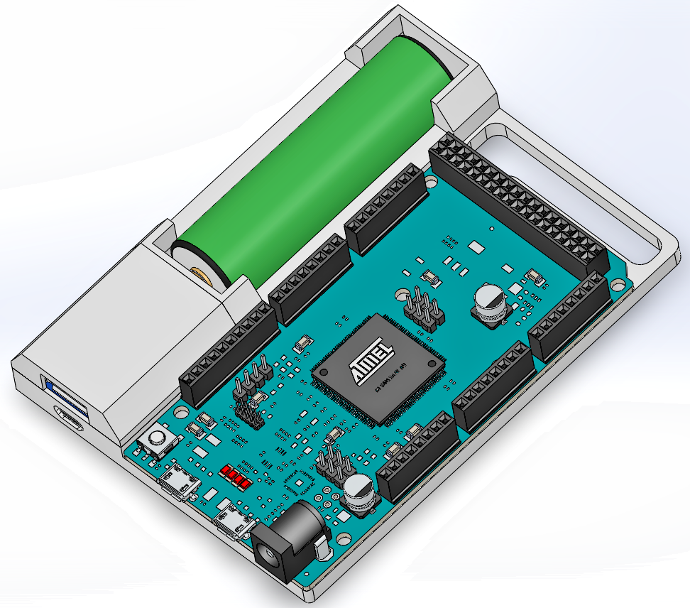 Arduino case with power supply charger circuit for uno
