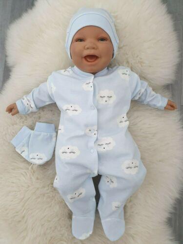 NEU Baby Strampler Set mit Namen Jungen Mädchen Wolke Blau Rosa Grau 50 56 62 68