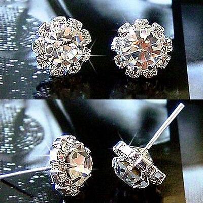 Silver 1 Pair Fashion Women Lady Elegant Crystal Rhinestone Ear Stud Earrings