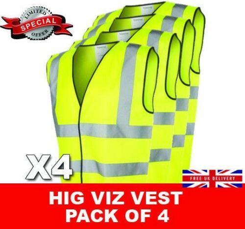 Hi Vis Vest High Viz Visibility Safety Waistcoat Yellow Multi Pack x4