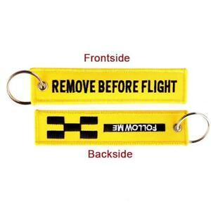 FOLLOW-ME-REMOVE-BEFORE-FLIGHT-Keychain-Keyring-Embroidery-Luggage-Key-Chain-Neu