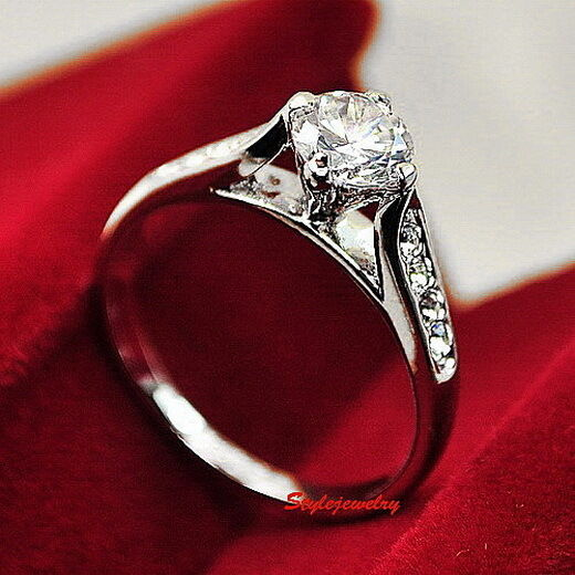 White Gold Plated Made with Swarovski Crystal Wedding Engagement Ring R109
