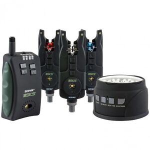 Sonik-NEW-SKS-3-Rod-Bite-Alarm-amp-Receiver-Set-with-FREE-Bivvy-Light