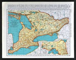 Details about 1938 McNally Map Canada Ontario Toronto London Windsor  Niagara Falls Ottawa ON