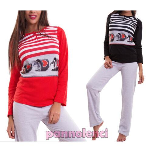 Pyjamas Frau Jersey Plüsch Hose Unterwäsche Streifen Geschenkidee Neu 6067-mod