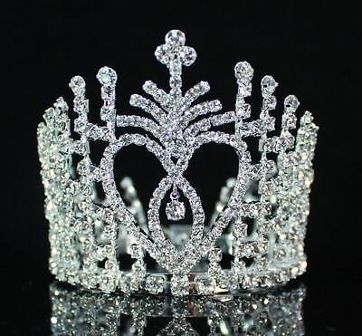 Cake Topper Clear Austrian Rhinestone Crystal Hair Bun Tiara Mini Crown Wed M515