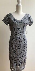 JS-Collections-Midi-Dress-Gray-Navy-Blue-V-Neck-Embroidered-Women-039-s-Size-4