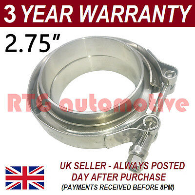 "2X V-BAND CLAMP FLANGES ALL STAINLESS STEEL EXHAUST TURBO HOSE 2.75/"" 70mm"