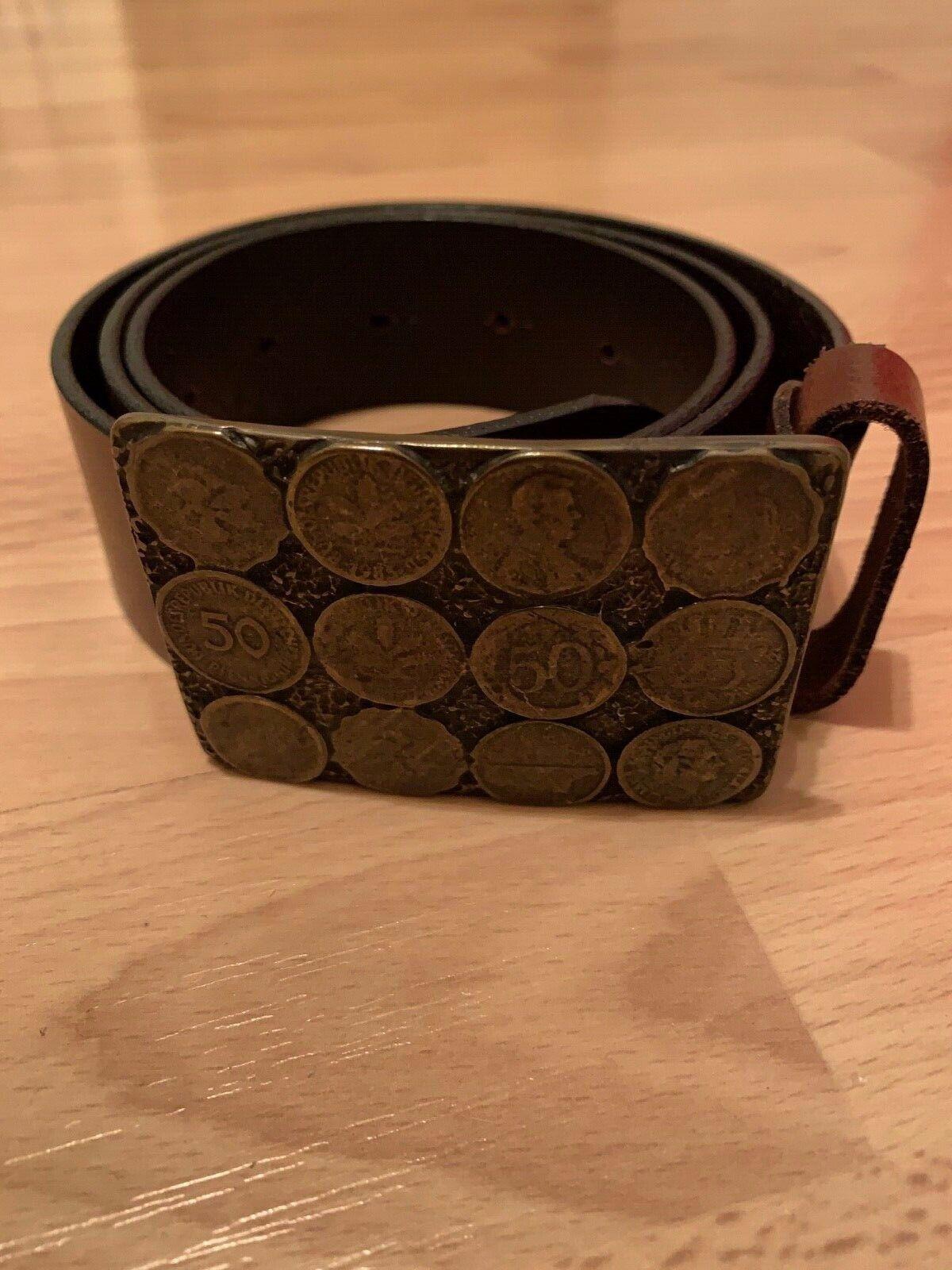 Gürtel Herren, Echt Leder, braun, mit Pfennig Münzen, Größe 80