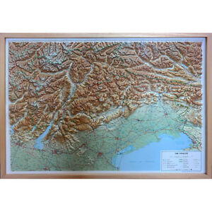 Le Tre Venezie Carta Regionale In Rilievo [94x69 Cm] [con Cornice] Global Map