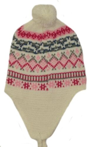 GIRL/'S PERUVIAN//NEPAL WINTER HATS WITH A BOBBLE/&TASSELS ONE SIZE 2-6YRS APPROX